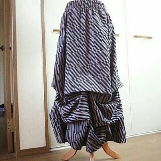 アンティカ(antiqua)の変形 斜めストライプ ドット柄 マキシ丈 スカート YUMMY GRIMES(ロングスカート)