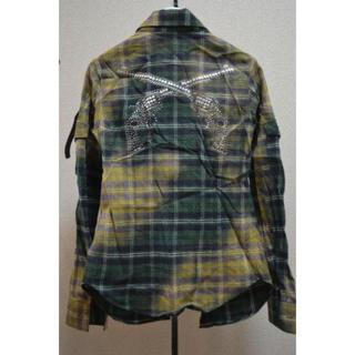 ロアー(roar)のroarロアー 二丁拳銃 ブリーチネルシャツ チェックシャツ 1 スワロフスキー(シャツ)