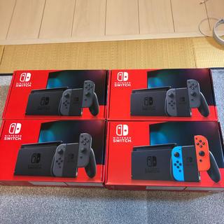 ニンテンドースイッチ(Nintendo Switch)の新型nintendo switch グレー3台 ネオン1台 印有無混在 計4台(家庭用ゲーム機本体)