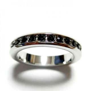 2号 フルエタニティ スワロフスキークリスタル ジェット シルバーリング(リング(指輪))