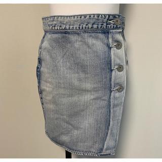 ジェイダ(GYDA)のGYDA デニム巻きスカート シンプル ウォッシュド(ひざ丈スカート)