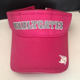 パーリーゲイツ(PEARLY GATES)の新品 サンバイザー ピンク(キャップ)