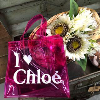 クロエ(Chloe)のChloe限定 ビニールトートバッグ ピンク ♡(トートバッグ)
