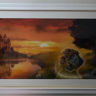 ディズニー(Disney)の【更に値下げ】美女と野獣 Sunset Romanceジクレ アールビバン(絵画/タペストリー)