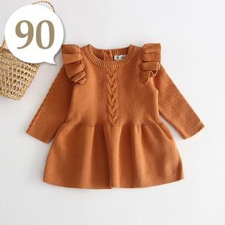 80cm~90cm|キャメル〔肩フリルAラインニットワンピース〕女の子 ベビー服(ワンピース)