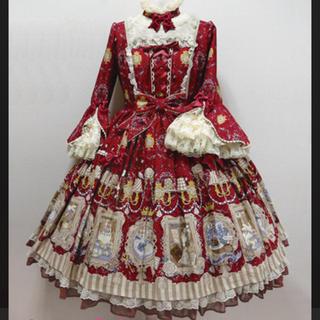 アンジェリックプリティー(Angelic Pretty)のwonder gallery dress 3点セット ワイン 10月末迄(ミディアムドレス)
