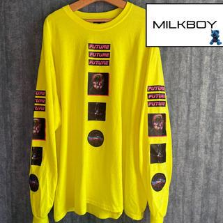 ミルクボーイ(MILKBOY)のMILK BOY 幾何学 FUTURE 長袖tシャツ蛍光イエロービックシルエット(Tシャツ/カットソー(七分/長袖))
