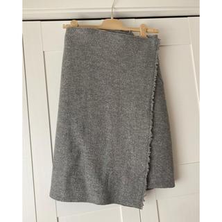 セリーヌ(celine)のCeline (フィービー) ウール巻きスカート 36  グレー(ひざ丈スカート)