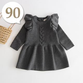 80cm~90cm|チャコールグレー〔肩フリルニットワンピース〕女の子 ベビー服(ワンピース)