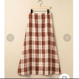 ビューティアンドユースユナイテッドアローズ(BEAUTY&YOUTH UNITED ARROWS)のキュプラチェックフロントボタンマキシスカート(ロングスカート)