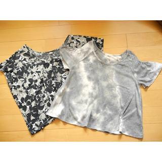ユニクロ(UNIQLO)の【L】ユニクロ花柄&ジーユータイダイ柄カットソー2点セット/A985(Tシャツ(半袖/袖なし))