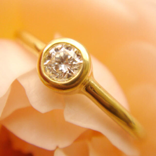 22金★一粒ダイヤリング 指輪 22k ダイヤモンドリング ピンキーリング(リング(指輪))
