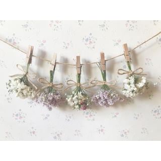 3種のバラのふんわりパステルピンクドライフラワーガーランド♡スワッグ♡ミニブーケ(ドライフラワー)