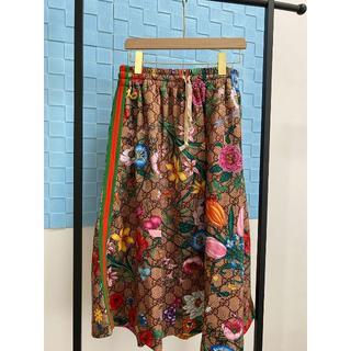 グッチ(Gucci)のGUCCI GG柄 フローラプリント ジャージースカート(ひざ丈スカート)