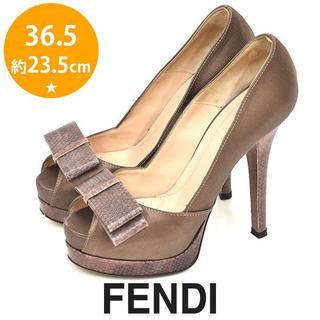 フェンディ(FENDI)の美品❤️フェンディ パイソン リボン サテン パンプス 36.5(約23.5cm(ハイヒール/パンプス)