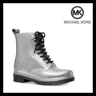 マイケルコース(Michael Kors)のマイケルコース★MKロゴ シルバー シューレース レイン ブーツ 23cm(ブーツ)
