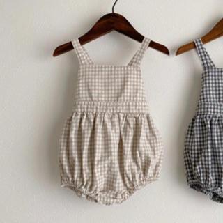 プティマイン(petit main)の韓国子供服 ギンガムチェック ロンパース(ロンパース)