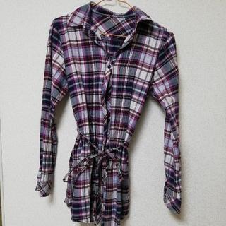 紫色 チェック柄(シャツ/ブラウス(半袖/袖なし))