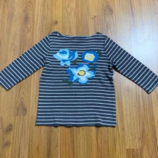ボーデン(Boden)のboden ハッチポッチTシャツ 4-5y 110 アップリケ ボーダー(Tシャツ/カットソー)
