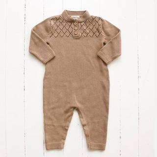 キャラメルベビー&チャイルド(Caramel baby&child )のfin&vince ニットロンパース ベージュ(ロンパース)