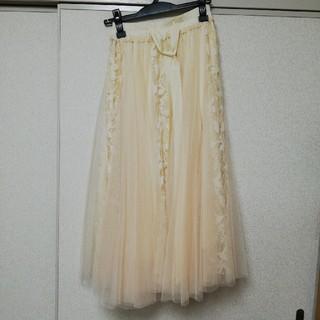 レース ロングスカート(クリーム色)(ロングスカート)
