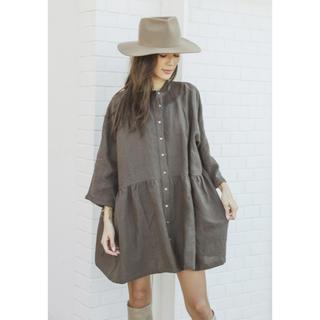 アリシアスタン(ALEXIA STAM)の アリシアスタン♡Stand Collar Shirt Dress Brown(ロングワンピース/マキシワンピース)
