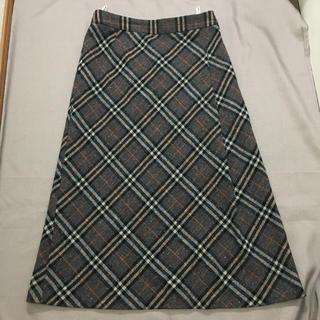 バーバリー(BURBERRY)の未使用★バーバリーロンドン ロングスカート 38 グレー チェック(ロングスカート)