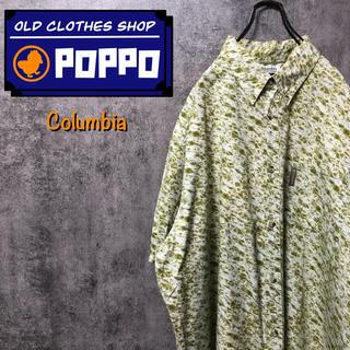 コロンビア(Columbia)のコロンビア☆ロゴタグ入りフィッシュ柄半袖ビッグ総柄シャツ 90s(シャツ)