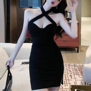 リップサービス(LIP SERVICE)のデコルテショルダークロスデザインワンピース キャバ ドレス(ナイトドレス)