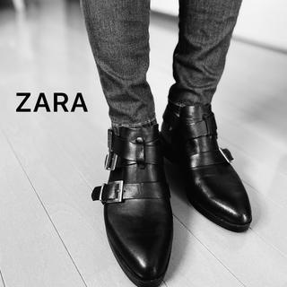 ZARA - ZARAショートブーツ黒ベルトローファーサンダルヒールパンプススニーカーレザー
