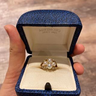 ミキモト(MIKIMOTO)の美品! ミキモト ダイヤ付きパールリング(リング(指輪))