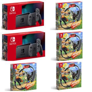 ニンテンドースイッチ(Nintendo Switch)の任天堂Switch グレー2台 リングフィットアドベンチャー4台(家庭用ゲームソフト)