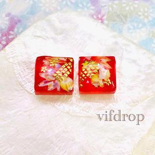 カラフル紅葉和柄のガラスタイルピアス イヤリング(ピアス)