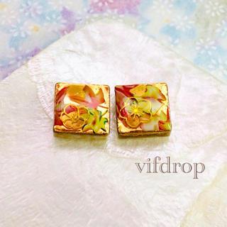 カラフル紅葉和柄のゴールドタイルピアス イヤリング(ピアス)