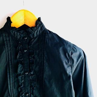 コムサイズム(COMME CA ISM)のフリル ブラウス 長袖 黒 150A(ブラウス)