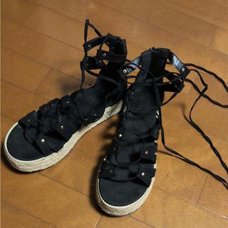 フォーエバートゥエンティーワン(FOREVER 21)のFOREVER21 サンダル 編み上げ 靴 シューズ 編み上げサンダル(サンダル)