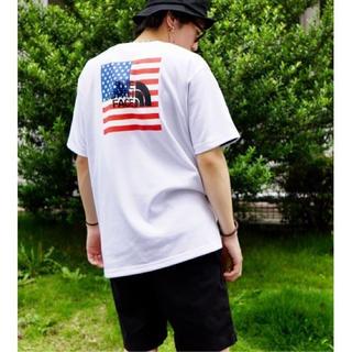 ザノースフェイス(THE NORTH FACE)のノースフェイス 星条旗 白 tシャツ 半袖 ホワイト 国旗 黒 ブラック ロゴ(Tシャツ/カットソー(半袖/袖なし))