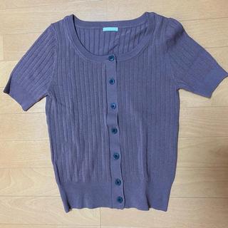 ジーユー(GU)のGU フロントボタンセーター ブラウン(シャツ/ブラウス(半袖/袖なし))
