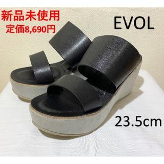 イーボル(EVOL)の【新品未使用】EVOL(イーボル)ダブルベルトサンダル(ブラック)23.5cm(サンダル)