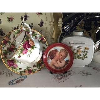 ロイヤルアルバート(ROYAL ALBERT)のロイヤルアルバート 薔薇 カップ ソーサー レア フランス ビンテージ 花瓶(食器)