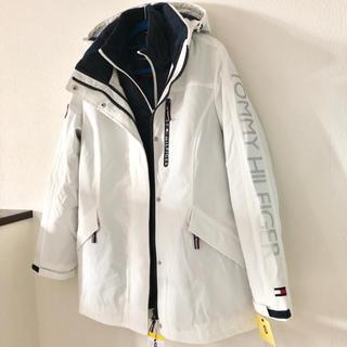 新品 トミーヒルフィガー パデッドパーカー コート ダウンジャケット 2枚重紺白
