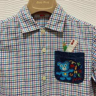 ミキハウス(mikihouse)の✨レア美品‼︎⭐️ミキハウス⭐️可愛いポケット刺繍シャツ 110(ブラウス)