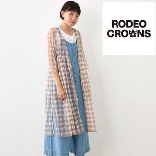 ロデオクラウンズワイドボウル(RODEO CROWNS WIDE BOWL)のRODEO CROWNS ロデオクラウンズ スター チェック柄 チュール ガウン(ロングワンピース/マキシワンピース)
