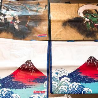 コストコ(コストコ)の☆新品・未使用☆ コストコ ショッピング バック 4セット 風神雷神 富士山(エコバッグ)