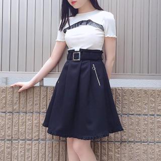 イートミー(EATME)のEATME ベルト付きフレアスカート ブラック(ひざ丈スカート)