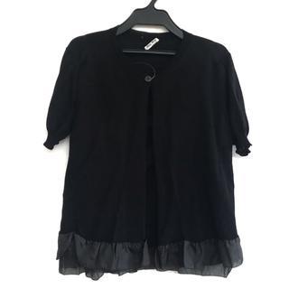 ミュウミュウ(miumiu)のミュウミュウ 半袖セーター サイズ40 M 黒(ニット/セーター)