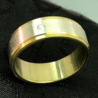 美品 メンズ リング 24号 ワンポイント クリア ストーン シルバー系(リング(指輪))