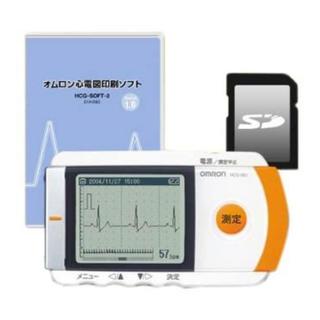 オムロン(OMRON)の中古美品 オムロン 携帯型心電計 HCG-801 心電図印刷ソフト+SDセット(その他)