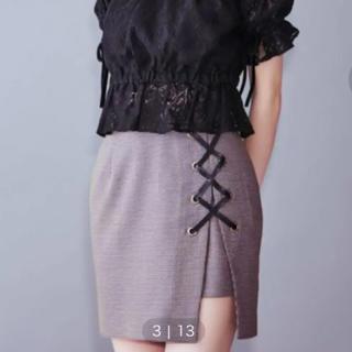 イートミー(EATME)のイートミー  膝丈スカート  編み上げ ミックス グレー チェック(ひざ丈スカート)