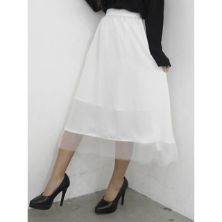 リゼクシー(RESEXXY)のリゼクシー 裾レースフレアスカート(ひざ丈スカート)